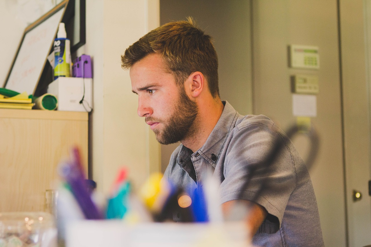 Man concentrating in serviced offices in Central London