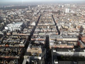 Aerial View of London office rentals West End Marylebone