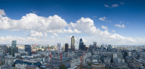 London-skyline of managed offices in London