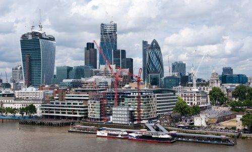 Skyscraper office buildings in London