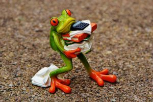 using a broker to rent an office in London frog carrying files