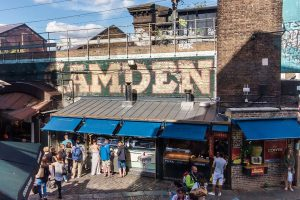 Camden street food near office buildings in London