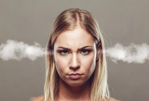 London offices annoyances steaming girl