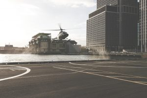 Helicopter and Helipad in the City