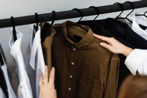 clothes-clothing-hanger-brown-shirt