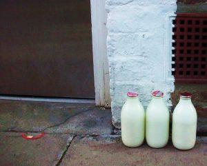 Glass milk bottle no plastic waste