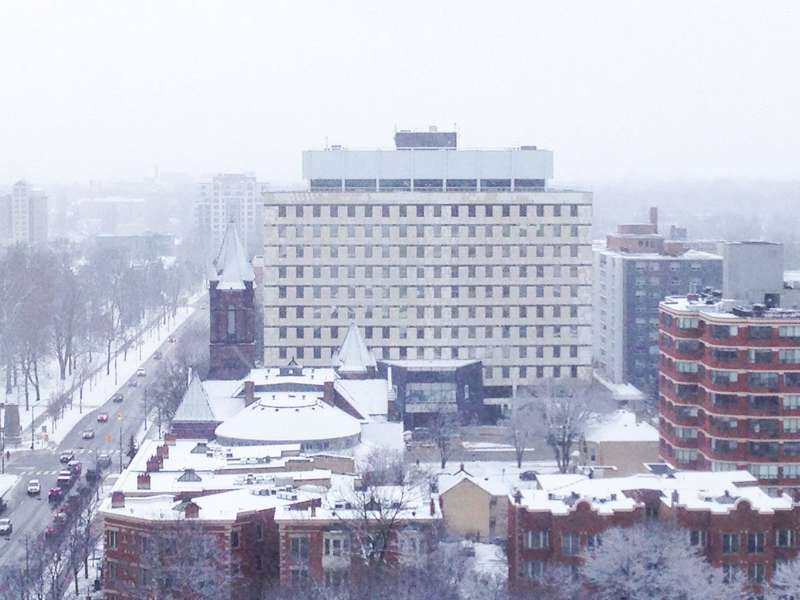 London office buildings under snow