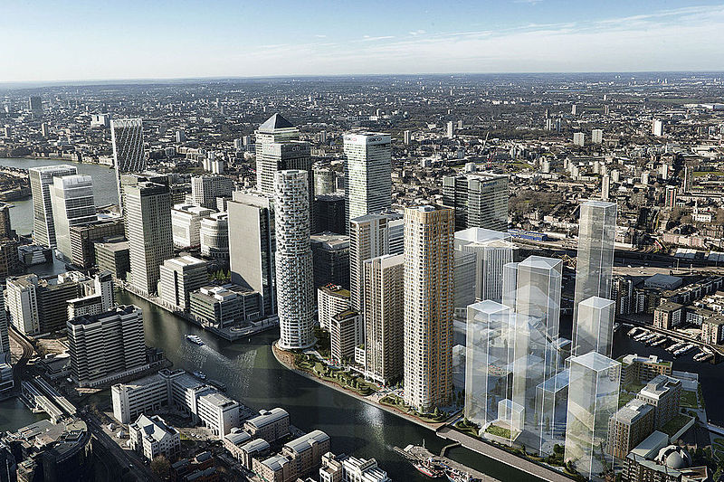 Wood Wharf Aerial view of flexible office space in London