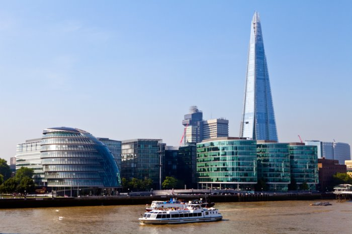 City Hall, The Shard serviced offices and the River Thames in London.