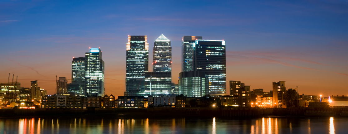 Panorama of Canary Wharf London office rentals